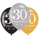 Happy Birthday 30 balloon with 6 balloons