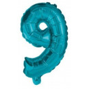 Mini 9-es Blue szám Fólia lufi 10 cm