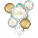 Happy Birthday Girl Foil Balloons Set 5 Pieces