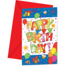 Kokliko Happy Birthday Invitation z 6 kawałkami