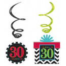 Happy Birthday 30 Ribbon decoration set of 12 piec