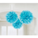 Hanging pom pom decoration Light Blue 3 pcs