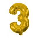 Óriás 3-as Gold szám Fólia lufi 85 cm