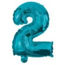 Mini 2-es Blue szám Fólia lufi 10 cm