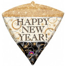 Frohes neues Jahr Folienballon mit Diamant-Form