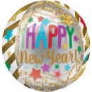 Happy New Year Sphere Foil Balloons 40 cm