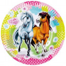 Rider, The Horses Paper Plate with 8 pcs 23 cm
