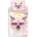 Cat linen cover 140 × 200cm, 70 × 90 cm microfiber