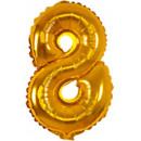 Großhandel Geschenkartikel & Papeterie: Mini 8 Gold Number Folienballons 33 cm
