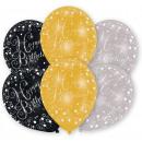Happy Birthday Gold balloon, 6 balloons