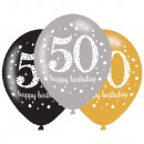 Happy Birthday 50 balloon with 6 balloons