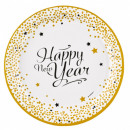 Happy New Year deegplaat 8 stuks 23 cm