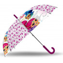 Kids with Transparent Semiautomatic Umbrella Shimm