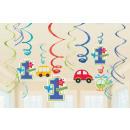 groothandel Stationery & Gifts: Eerste verjaardag lint decoratie set van 12
