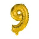 Óriás 9-es Gold szám Fólia lufi 85 cm
