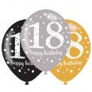 Happy Birthday 18 balloon with 6 balloons