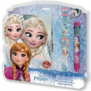 Diary + 6 colored pen + watch with Disney frozen