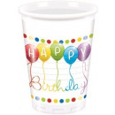 Happy Birthday Plastic cup 8 pcs 200 ml