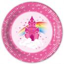 Plate Rainbow Castle Paper 8 pièces 23 cm