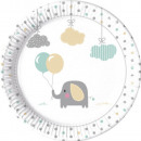 Elephant Baby, Elephant Paper Plate with 8 pcs 23