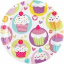 Großhandel Geschenkartikel & Papeterie: Kleine Kuchen, Muffin Pappteller 8 Stück 23 cm