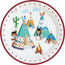Tepee & Tomahawk Paper Plate with 8 pcs 23 cm