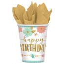 Happy Birthday Girl with paper cup 8 pcs 266 ml