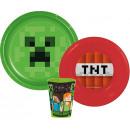 Minecraft zastawa stołowa, zestaw plastikowy