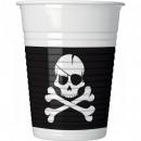 Pirates Black Skull, Pirate Plastic cup with 8 pie