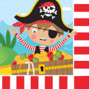 Pirate, Pirate Napkin with 16 pieces, 33 * 33 cm