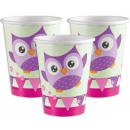 Owl, Owl paper cup 8 pcs 250 ml