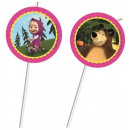 Masha and the Bear straw, 6 pcs set