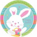 Großhandel Geschenkartikel & Papeterie: Kaninchen, Häschen Pappteller 8 Stück 22,9 cm