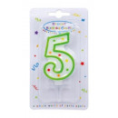 Colorful cake candle, number candle 5