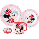 DisneyMinnie tableware, micro plastic set