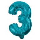 Mini 3-as Blue szám Fólia lufi 10 cm
