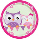 Owl, Owl Paper Plate with 8 pcs 23 cm