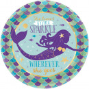 Mermaid, Mermaid Metallic Paper Plate with 8 pcs 1