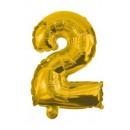 Óriás 2-es Gold szám Fólia lufi 85 cm