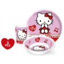 Geschirr, Melamin - Set mit Hello Kitty