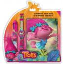 Log + 6 colored pen + watch Trolls , Trolls