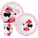 DisneyMinnie tableware, micro plastic set