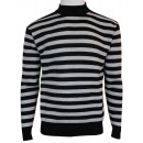 PULL OVER A RAYURE HOMME COL HAUT . 604-B