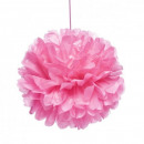 groothandel Home & Living: Zijdepapier 40cm roze pompom