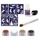 grossiste Piercing / Tatouage: Kit de tatouage  paillettes conceptions girly
