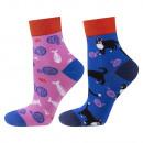 Women's socks, SOXO mismatched, colorful patte