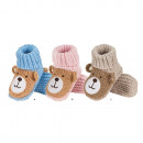 Knitted baby slippers SOXO, teddy bears