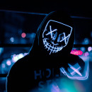 Großhandel Reiseartikel: Horrorfilm LED-Maske - The Purge - Blau