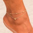 grossiste Chaines: Bracelet double chaine pour cheville - Doré