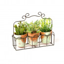 3 MINI POTS WITH GREEN PLANTS IN SUPPORT METAL